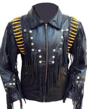 Men Western Leather Jacket Wear Fringes Beads Western Jacket Free Shipping