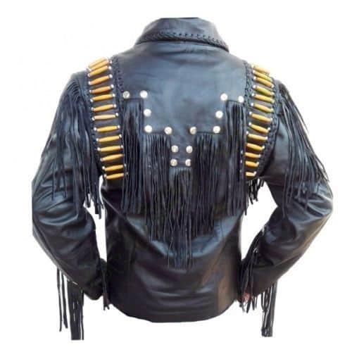 Men Western Leather Jacket Wear Fringes Beads Western Jacket Free Shipping