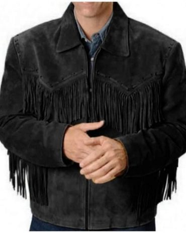 Western Black Leather Jacket Wear Fringes Beads Western Jacket Free Shipping