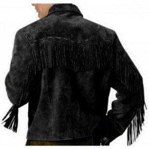 Western Black Leather Jacket Wear Fringes Beads Western Jacket Free Shipping