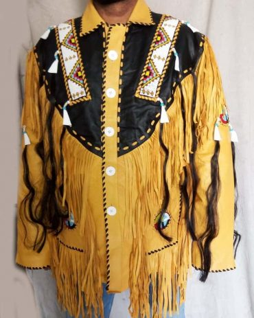 Mens Cowboy Suede Western Coat Fringes Beads Western Jacket Free Shipping