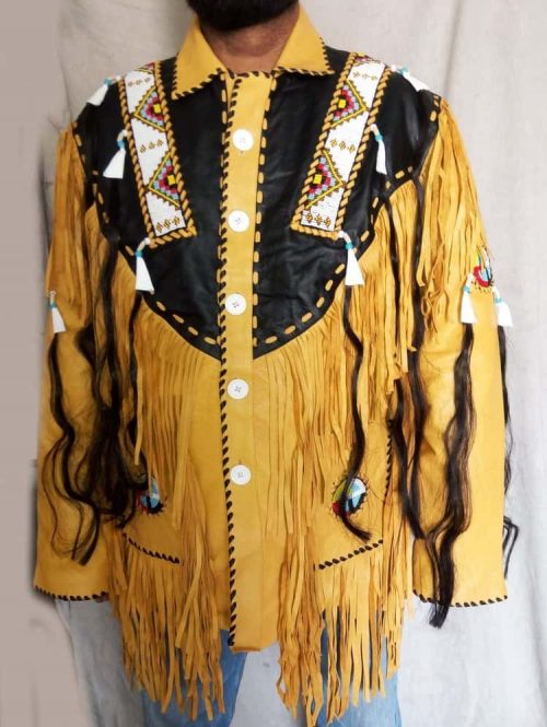 Mens Cowboy Suede  Western Coat Fringes Beads Western Jacket Free Shipping