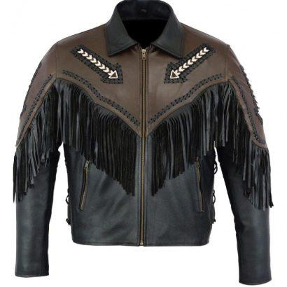 Leatheray Men's Fashion Western Motorbike Jacket Black Western Jacket Free Shipping