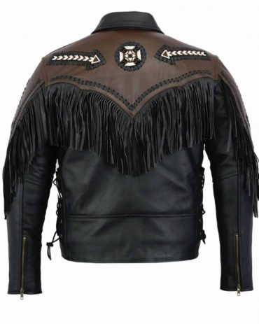Leatheray Men's Fashion Western Motorbike Jacket Black Western Jacket Free Shipping
