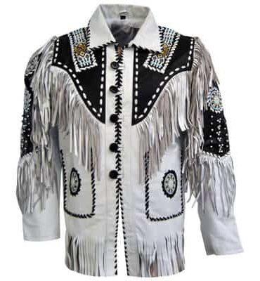 Men White Cow Leather Western Cowboy Jacket With Fringe Western Jacket Free Shipping