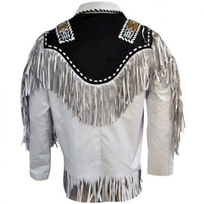 Men White Cow Leather Western Cowboy Jacket With Fringe Western Jacket Free Shipping