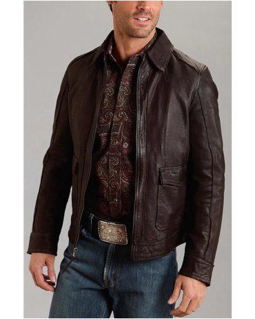 Western Mens Leather Zip Brown Jacket Western Jacket Free Shipping