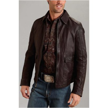 Stetson Dark Brown Leather Western Jacket for Men's Western Jacket Free Shipping