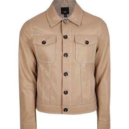 Camel Cowboy leather Western jacket Western Jacket Free Shipping