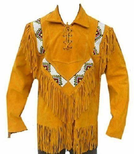 cowboy Leather coat With Fringed Bones & Beads Western Jacket Free Shipping