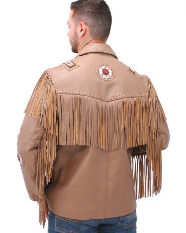 Western Brown Leather Jacket Fringe & Bone Beading Western Jacket Free Shipping