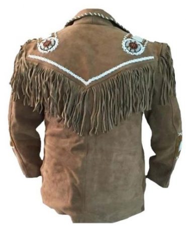 Western Cowboy Leather Coat With Fringe Bones And Beads Brown Western Jacket Free Shipping