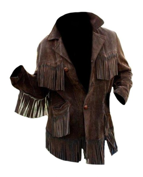 Western cowboy Brown suede leather jacket with Fringes Western Jacket Free Shipping