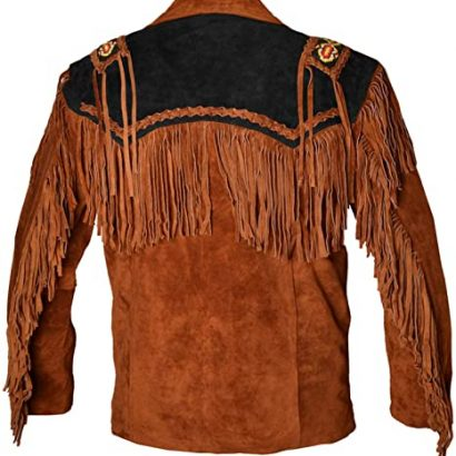 Western Cowboy Fringed Suede Leather Brown Black Jacket Western Jacket Free Shipping