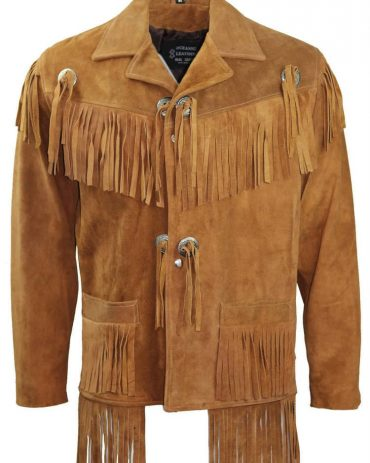 Cowboy Western Leather Coat Fringes Beads Western Jacket Free Shipping
