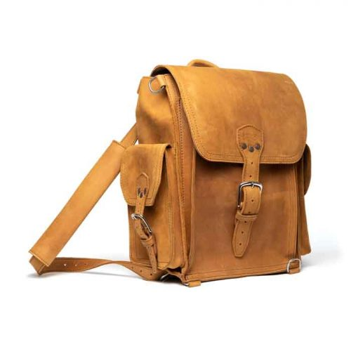 Women's Squared Full Grain Leather Backpack Bags Free Shipping