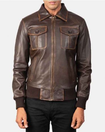 Coffman Real Leather Black Bomber Jacket Fashion Collection Free Shipping