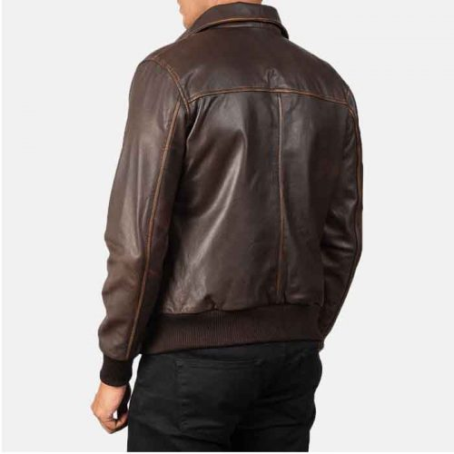 Aaron Brown Leather Bomber Jacket For Men's Fashion Collection Free Shipping
