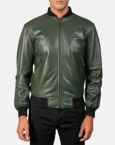 Best Real Green Leather Bomber Jacket For Men's Fashion Collection Free Shipping