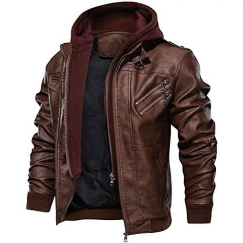 Men's Casual Stand Collar Real Leather Zip-Up Bomber Jacket With a Removable Hood Fashion Collection Free Shipping