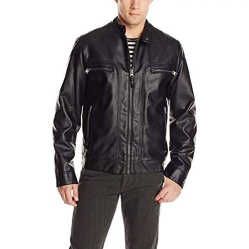 Men's Real Lamb Leather Moto Jacket with Removable Hood Fashion Collection Free Shipping