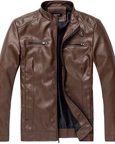 Men's Stand Collar  Motorcycle Lightweight Leather Bomber Jacket Fashion Collection Free Shipping