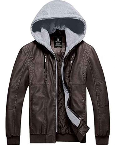 Men's Real Leather Jacket Motorcycle Biker Coat with Removable Hood Fashion Collection Free Shipping