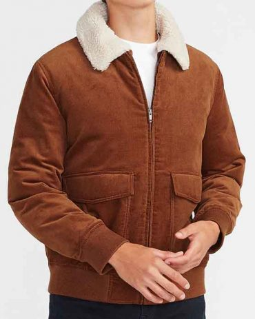 New Styles Look Collar Corduroy Bomber Leather Jacket Fashion Collection Free Shipping