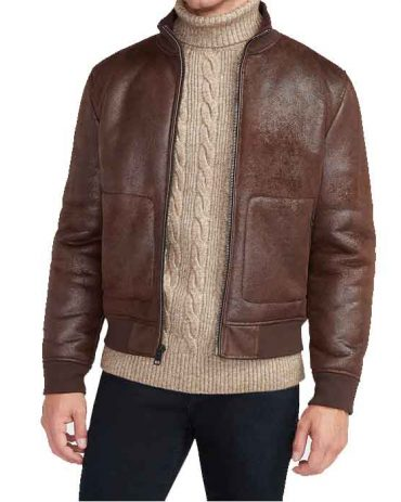 Brown Vegan Leather Sherpa Lined Bomber Jacket For Men's Fashion Collection Free Shipping