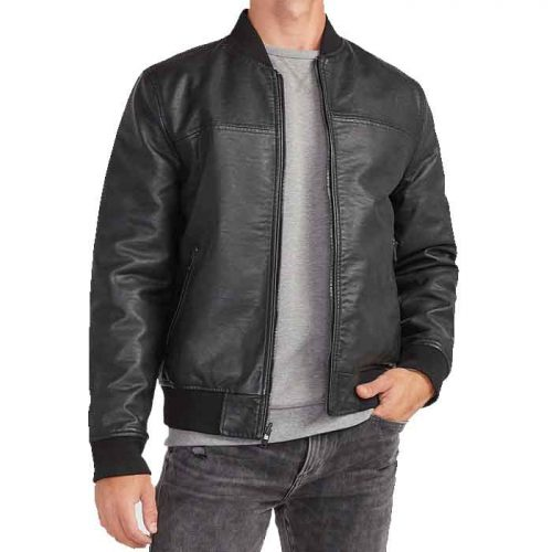 Men's Black Leather Reversible Bomber Jacket Fashion Collection Free Shipping