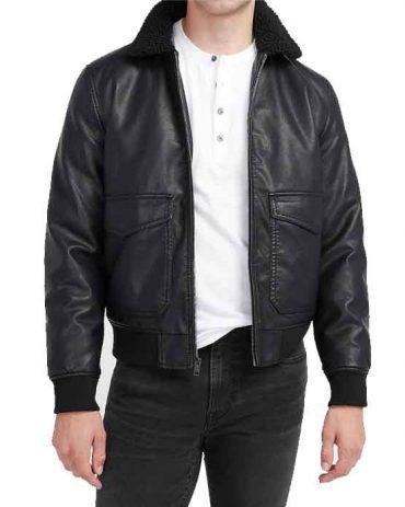 Men's Sherpa Collar Vegan Leather Bomber Jacket Fashion Collection Free Shipping