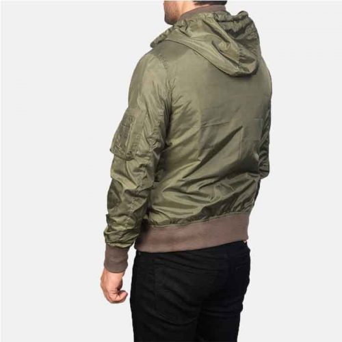 Men's Hanklin Green Hooded Bomber Leather Jacket Fashion Collection Free Shipping
