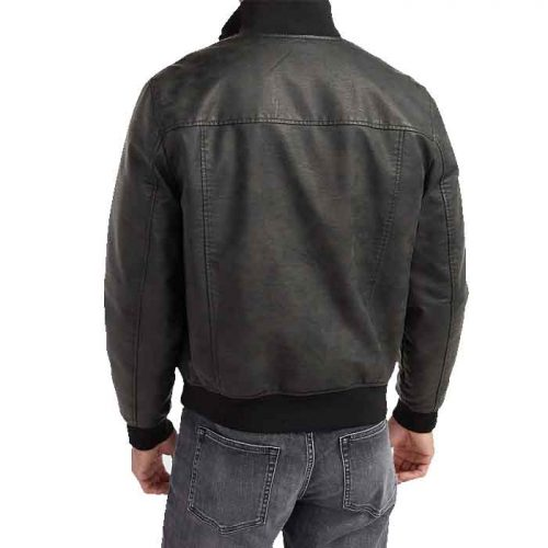 New Styles Look Vegan Leather Bomber Jacket For Men's Fashion Collection Free Shipping