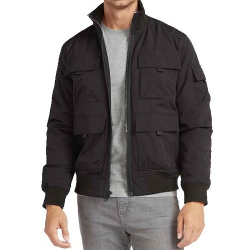 Men's Black Water-Resistant Utility Bomber Jacket Fashion Collection Free Shipping