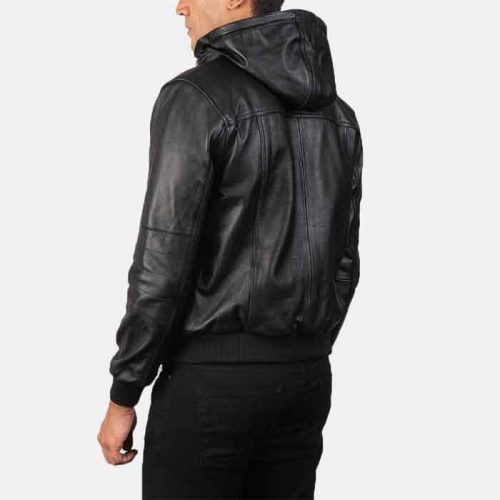 Bouncer Biz Black Leather Bomber Jacket For Men's Fashion Collection Free Shipping