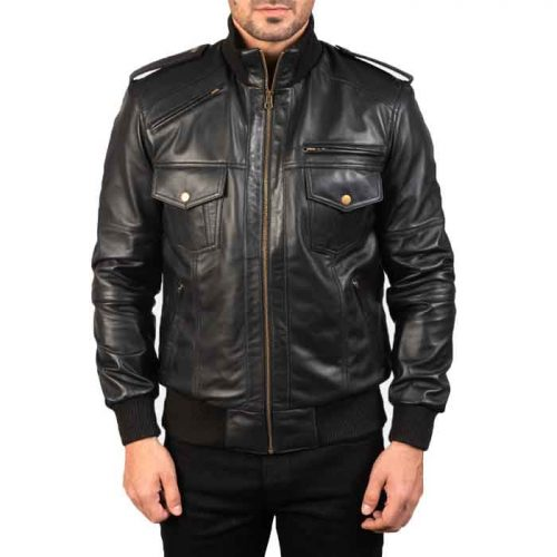 Men's Black Shadow Leather Bomber Jacket Fashion Collection Free Shipping