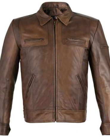 Brown and Gray Motorcycle/Fashion Leather Jacket For Mens Fashion Jackets Free Shipping
