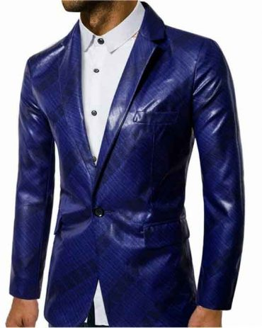 New Dark Blue Stage Fashion Leather Jacket For Men's Fashion Jackets Free Shipping