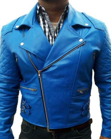 Blue Ribbed Fashion Leather jacket for Men's Fashion Jackets Free Shipping