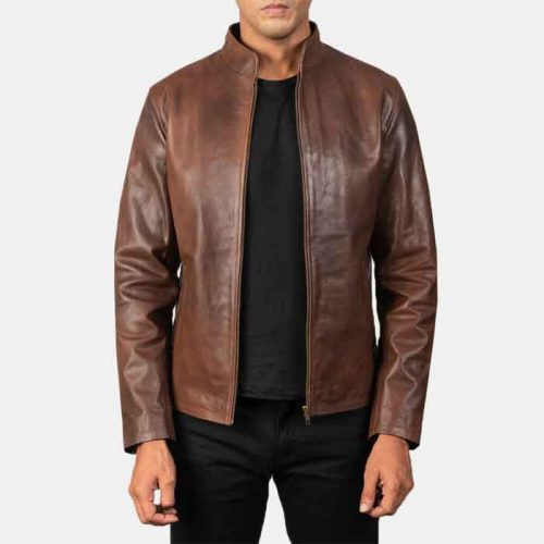 Genuine Fashion Lambskin Brown Biker Leather Jacket For Men's Fashion Jackets Free Shipping