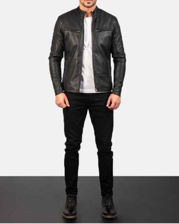 Black Fashion Leather Jacket For Men's Fashion Jackets Free Shipping