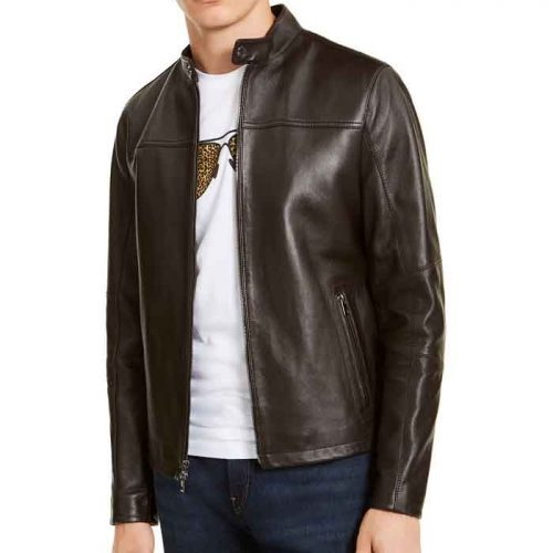 Created for Macy's Men's Leather Racer Jacket Fashion Jackets Free Shipping