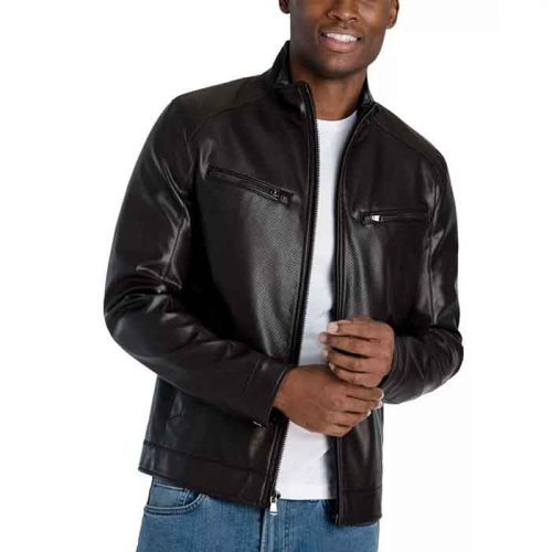 Men's Perforated Real Latest Leather Jacket Fashion Jackets Free Shipping