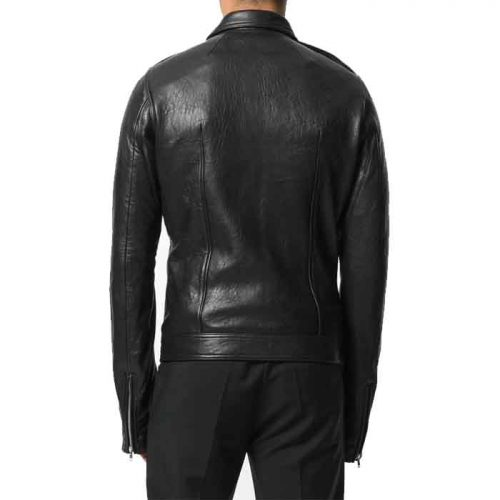 New Black center zip fastening jacket For Men's Fashion Collection Free Shipping