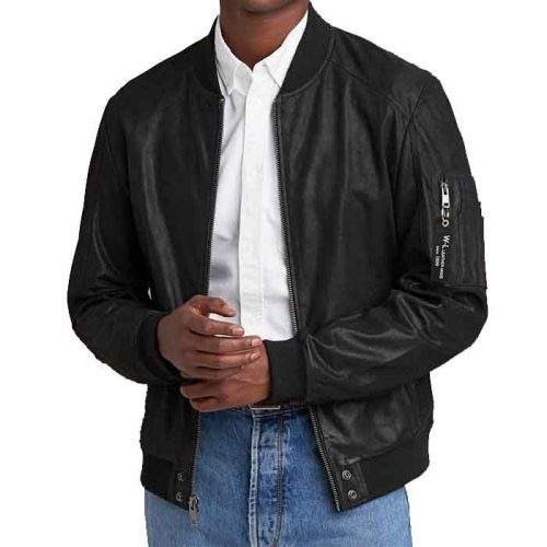 James Genuine Leather Bomber Jacket For Men's Fashion Jackets Free Shipping