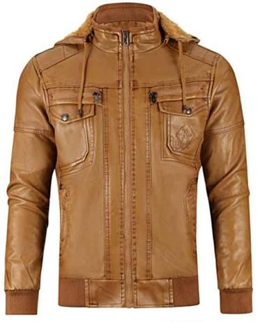 Men's Real Leather Jacket with Removable Hooded Fashion Jackets Free Shipping