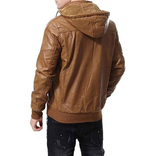 Motorcycle Men's Brown Vintage Real Leather Jacket Hooded Fashion Jackets Free Shipping