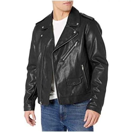 Mens Classic Asymmetrical Real Leather Motorcycle Jacket Fashion Jackets Free Shipping