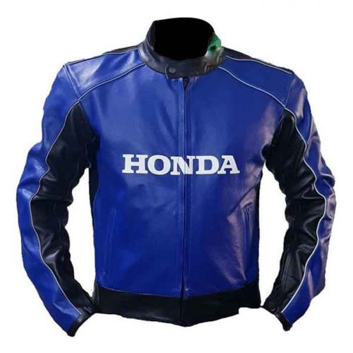 Cowhide Honda Blue Racing Motorbike Leather Jacket Motorbike Collection Free Shipping