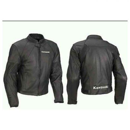 KAWASAKI FULL BLACK MOTORBIKE/MOTORCYCLE LEATHER JACKET Motorbike Collection Free Shipping